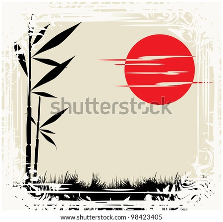 Abstract silhouette of a framework consisting of sun and bamboo sprout - stock photo