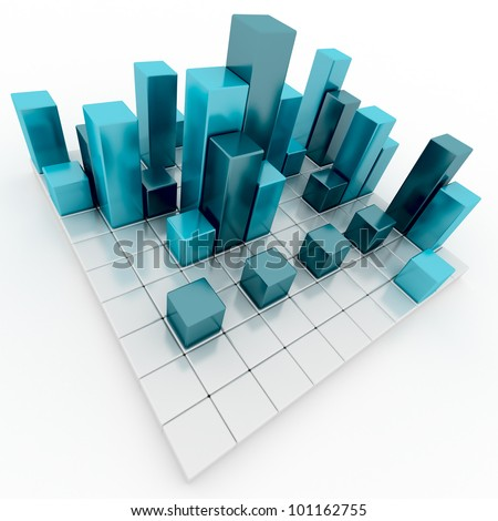 Abstract silver and blue metallic cubes 3d render - stock photo