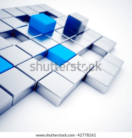 Abstract silver and blue metallic cubes on a white - stock photo
