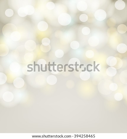 Abstract silver bokeh simple background with blurred light effects. Glowing golden light on abstract backdrop for Your design. raster version  - stock photo