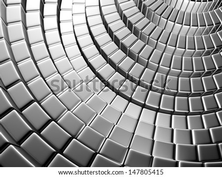 Abstract silver brick shiny background 3d illustration - stock photo
