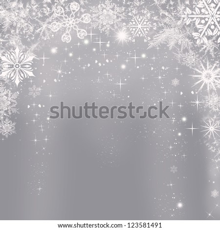 Abstract silver Christmas background with shining snowflakes - stock photo