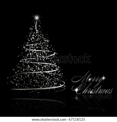 Abstract silver christmas tree on black background - stock photo