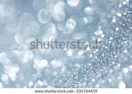 Abstract silver shiny glitter bokeh christmas background - stock photo