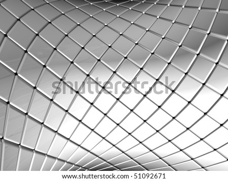 Abstract silver square pattern background with reflection 3d illustration - stock photo