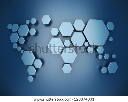 abstract simplified world map made of hexagons - stock photo