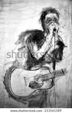 abstract Singer with guitar on canvas in black-white colors. Painted by black oil paintings  - stock photo