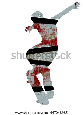 Abstract Skateboarder Silhouette - double exposure effect - isolated on white background - stock photo