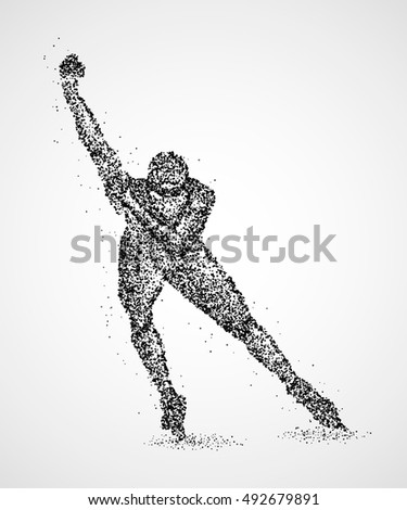 Abstract skater on the ice of black circles. Photo illustration.