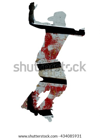 Abstract skater silhouette - double exposure effect - stock photo