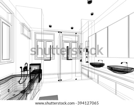 abstract sketch design of interior bathroom