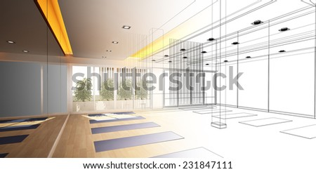 abstract sketch design of interior yoga room - stock photo