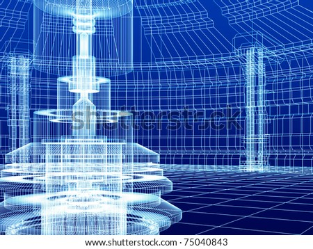 Abstract sketch of industrial lab - stock photo