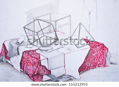 Abstract sketch of objects in one tone - stock photo