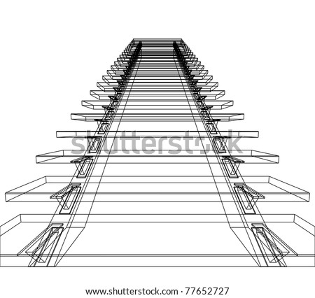 Abstract sketch of stairs. Vector illustration. - stock photo