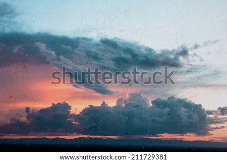 Abstract sky and clouds texture on wall background - stock photo