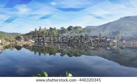 Abstract sky and lake geometric background ,Ban Rak Thai, a Chinese settlement in Mae Hong Son,Thailand