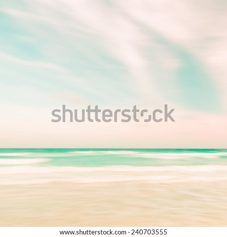 Abstract sky and ocean nature background with blurred panning motion, retro look. - stock photo