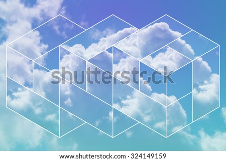abstract sky geometric background with polygons and cumulus clouds,  polygonal cloudscape backdrop, op art, altitude. reality is an illusion.  - stock photo