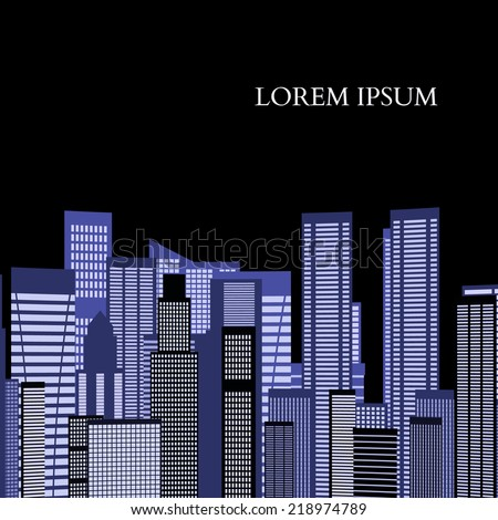 Abstract Skyline City Scape background. illustration