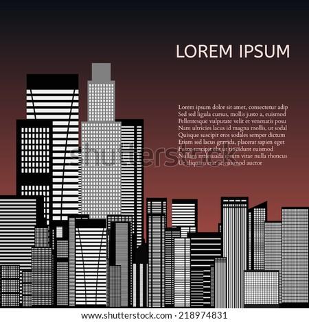 Abstract Skyline City Scape background. illustration - stock photo