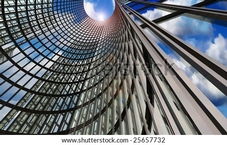 Abstract skyscraper with clouds reflection - stock photo