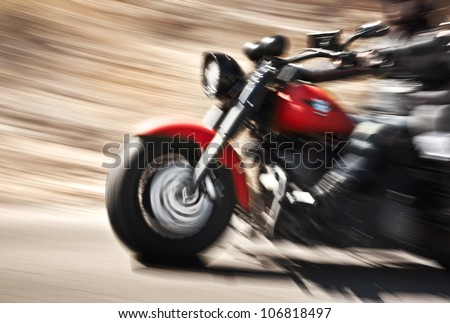 Merveilleux Abstract Slow Motion, Biker Riding Motorbike, Driver Racing On The Big Red  Bike,