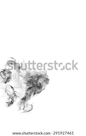 abstract smoke background, black smoke color on white background, black ink on white background  - stock photo