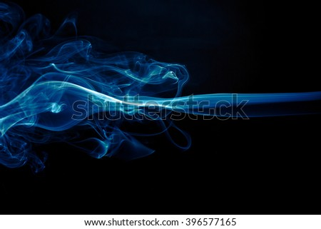 Abstract smoke background blue color smoke - stock photo