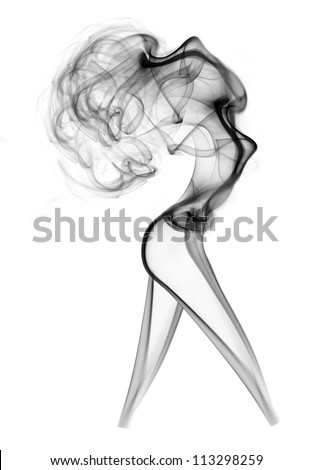Abstract smoke beautiful woman isolated on white - stock photo