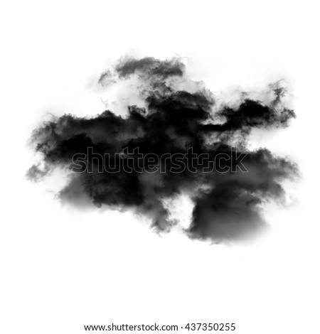Abstract smoke cloud shape isolated over white background - stock photo