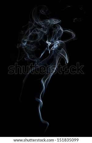 Abstract smoke isolated on black background. - stock photo