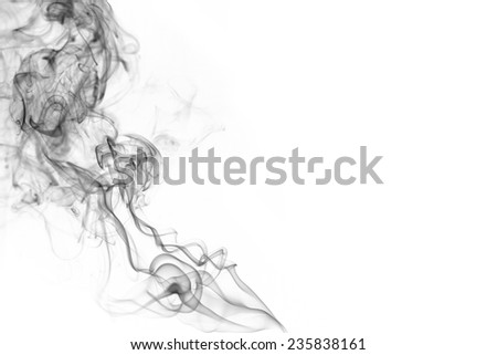 Abstract smoke moves on a white background