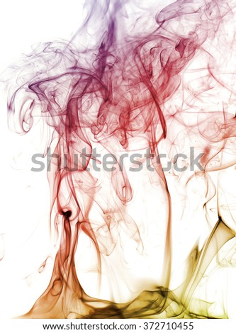 Abstract  smoke swirls over white background - stock photo