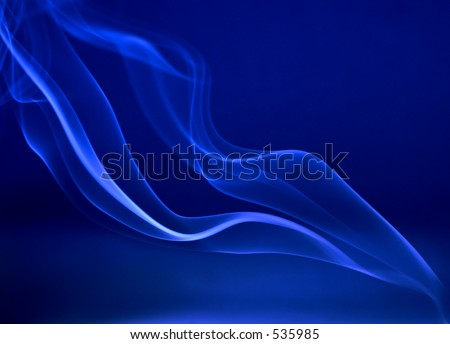 abstract smoke trails on deep blue background - stock photo