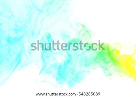 Abstract smoke Weipa. Personal vaporizers fragrant steam. Concept of alternative non-nicotine smoking. Yellow green vape smoke on a white background. E-cigarette. Evaporator. Taking Close-up. Vaping.