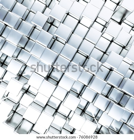 abstract smooth blue metallic cubes as background - stock photo