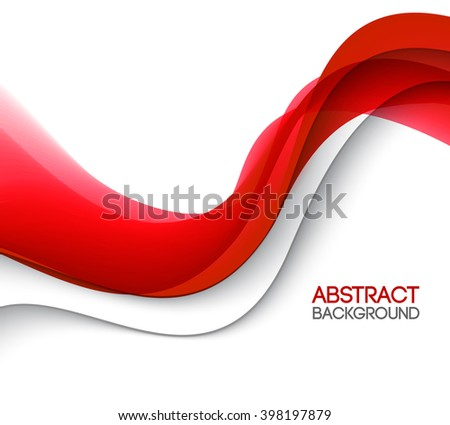 Abstract smooth color wave . Curve flow red motion illustration. Red wave - stock photo