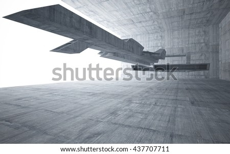 Abstract smooth concrete future interior with a large window. Architectural background.. 3D illustration. 3D rendering