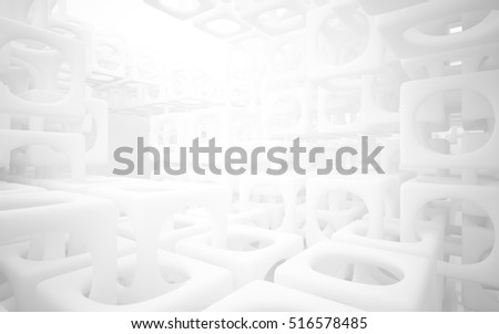 Abstract smooth white structural interior of the future. Architectural background. 3D illustration and rendering