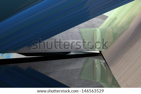 Abstract smoothed background of concrete, glass and wood - stock photo