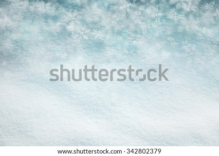Abstract snow texture background with cyan color snowflake background. Christmas and New Year Holidays snowy copy space background. - stock photo