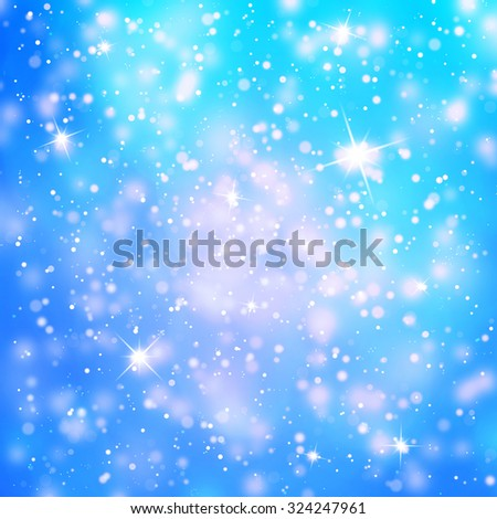 Abstract snowfall or rainfall background with drops, snowflakes and sparkle illustration. Winter season Holiday copy space background. - stock photo