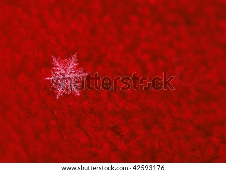 Abstract snowflake on red background - stock photo
