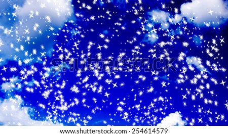 abstract snowflake star background against a blurry blue sky - stock photo