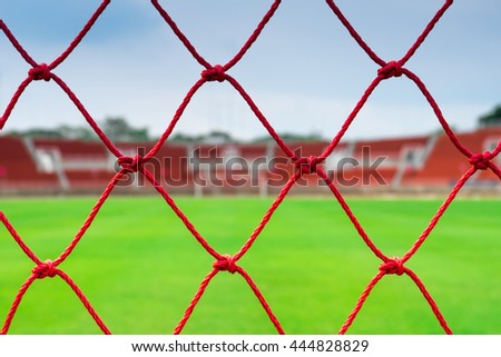 abstract soccer goal net , Football stadium , view by the net.