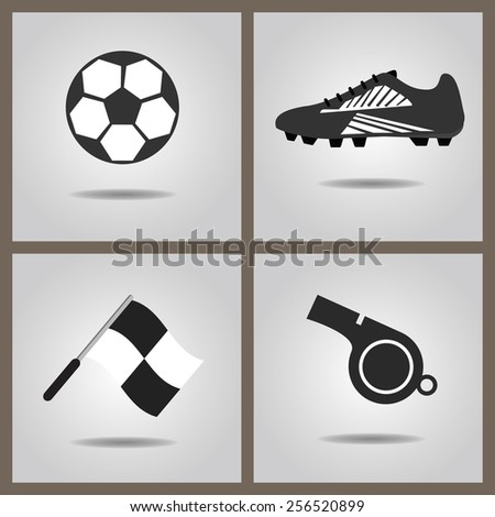 Abstract soccer set icons with dropped shadow on gray gradient background - Soccer shoe, soccer ball, assistant referee flag, and blowing whistle - stock photo