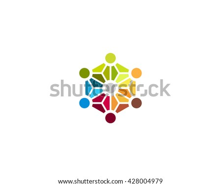 Abstract social media network biotechnology molecule atom dna logo design template. Medicine, science, technology, laboratory, logotype. Team work logistic structure icon - stock photo