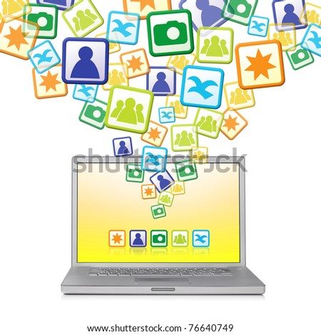 Abstract Social Networks explosion out of laptop - stock photo