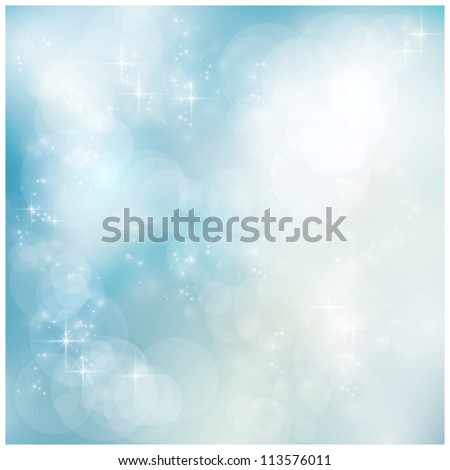 Abstract soft blurry background with bokeh lights and stars in soft blues. The festive feeling makes it a great backdrop for many winter, Christmas designs. Copyspace. - stock photo